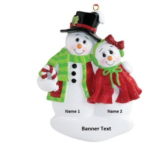 Snow Couple with Candycane Personalised Christmas Ornament
