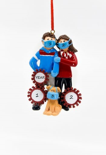 Quarantine Couple w/dog Personalised Christmas Ornament