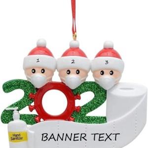 This Quarantine Family 3 Christmas Ornament