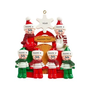 Sledding Family 6 Personalised Christmas Ornament