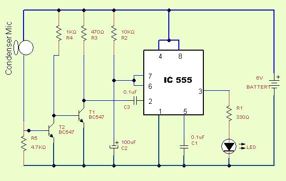 Clap Switch Circuit Using IC555