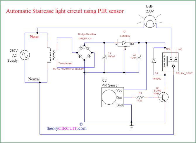 automatic staircase light using pir sensor