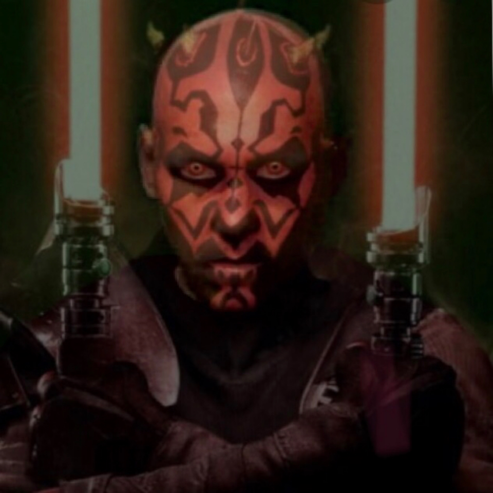 Whistlers face as Darth Maul. Red Skin, crown of yellow horns, yellow glowing eyes, and arms crossed with dual light sabers ignited.