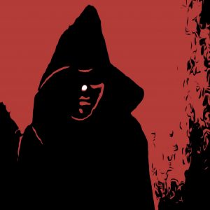 Darth Whistler in black cloak with hood down. Red skin and crown of yellow horns. red light saber held in a ready position.