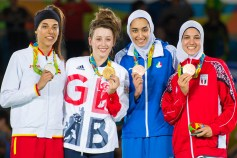 Rio 2016 - Taekwondo - Women's -57kg - Gold J. Jones (Great Britain), Silver E. Calvo Gómez (Spain), Bronze K. Alizadeh Zenoorin (Iran) and H. Wahba (Egypt) - Olympic Games in Rio, Brazil
