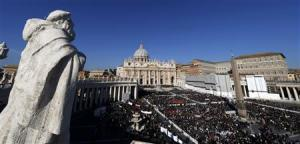 A packed Saint Peter's Square at the Vatican where Pope Benedict XVI holds his last general audience,