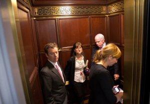 Awkwardness in a Senate elevator