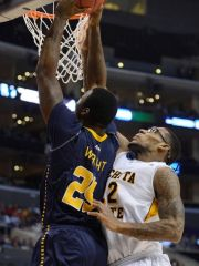 Shockers forward Carl Hall defends against La Salle's Jerrell Wright