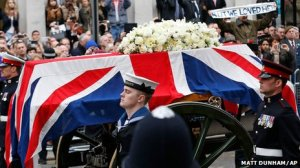 Margaret Thatcher's casket goes to Westminster Cathedral