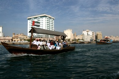 Abras on the Dubai canal - the only way to travel