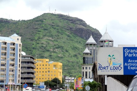Modern Port Louis, dominated by the mountains behind the city.