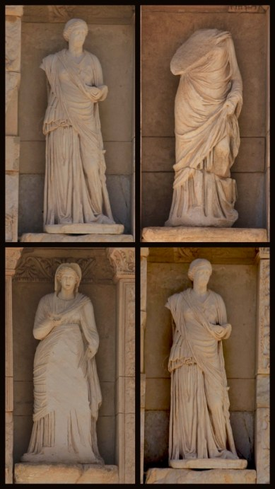 On the facade of the Celsus library - wisdom (Sophia), knowledge (Episteme), intelligence (Ennoia) and valor (Arete). These are the virtues of Celsus