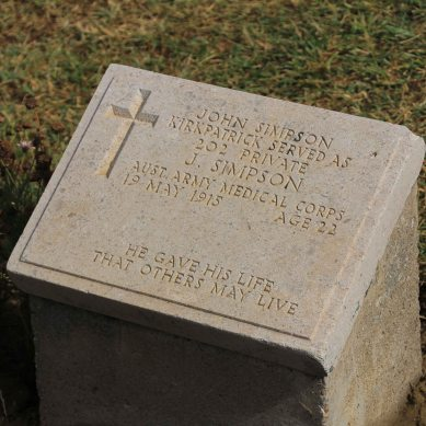 The grave of John Simpson (of Simson & his Donkey fame)