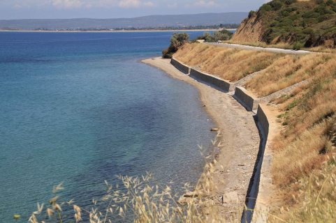 Anzac Cove. The retaining walls are recent to stop erosion.