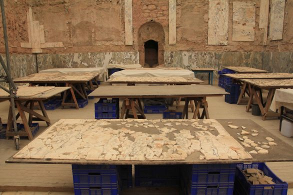 Table after table - a humungous jigsaw puzzle.