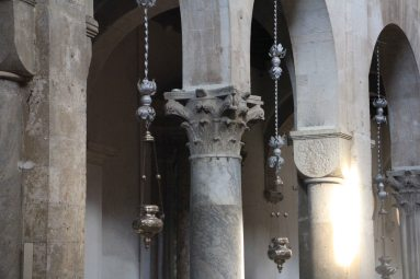 Left over Roman columns and capitals in the cathedral