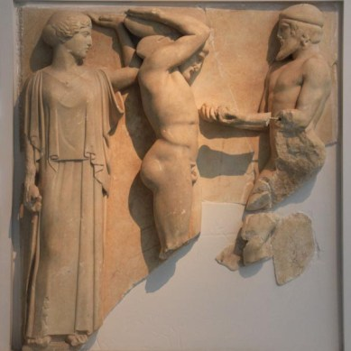 Metope (stone relief panels) from the Te,ple of Zeus