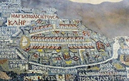 Madaba - mosaics - the famous 6th century map of Jerusalem
