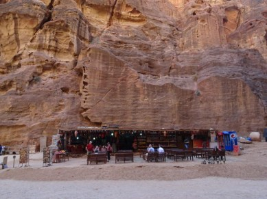 Petra - plenty of welcome opportunities to rest your legs and have a cool drink. Also buy souvenirs.