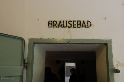 """Brausebad means """"showers"""" in German, over the entrance to the gas chamber"""