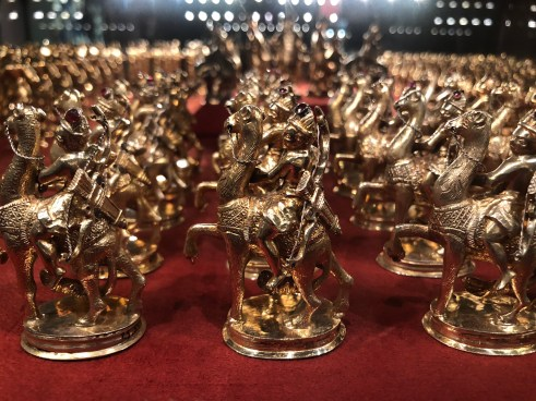 """War game """"Romans and Africans"""". A total of 250 gilt silver figures made for Frederik V. c.1700."""