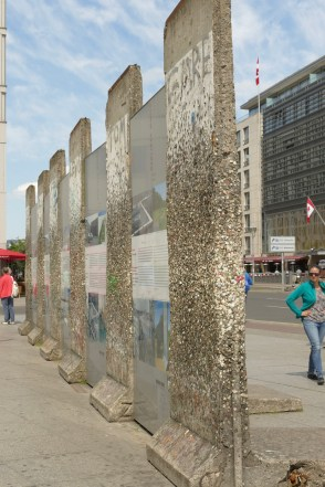 Berlin Wall display. Covered in chewing gum - apparently showing people's disgust for the wall.