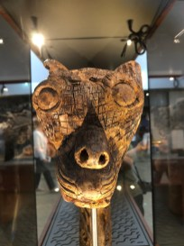 One of several carved animal heads found in the burial mounds. Their use is not known.