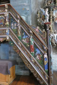 The stairs leading to the pulpit.