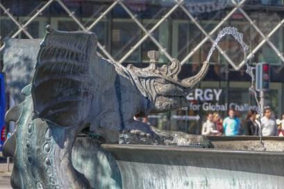 Dragon Fountain (detail) in front of Copenhagen City Hall.