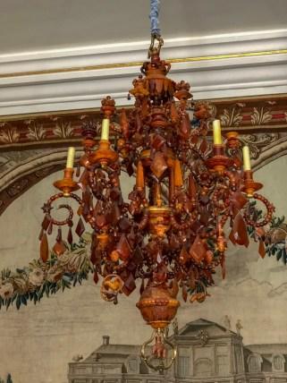 An amber chandelier