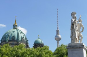 Cathedral, TV tower (modern cathedral) & statue. Kind of sums up Berlin