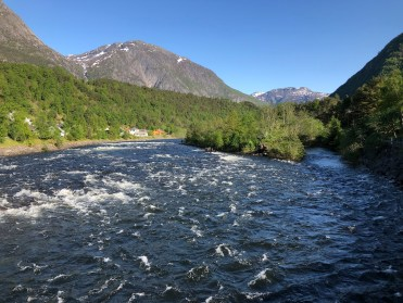 A raging river running through Eidfjord
