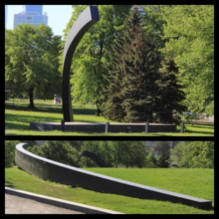 "The two halves of the ""Broken Line"" memorial"
