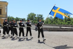 We missed the changing of the guard at the Royal Palace in Stockholm, but we caught a smaller (and much less crowded) version at Drottningholm