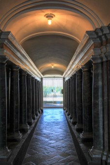 The Perspective Passage - a sloping floor and columns placed closer and closer together give the impression of a much longer corridoor.