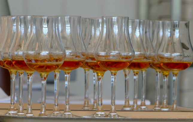 Apple brandy for tasting. A small sample but at 38% alcohol, that was plenty.