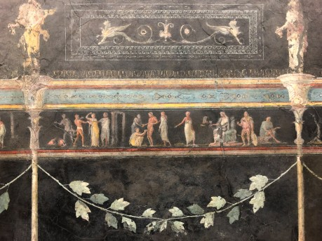Several rooms of frescoes from the Farnesina Roman Villa are displayed in rooms showing the actual size and position of the original villa. The detail, colour and variety of the frescoes is subperb.
