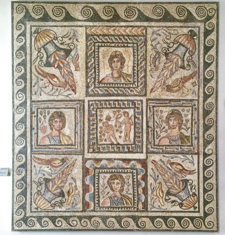 Mosaic floor depicting the four seasons. Such detail and so well preserved.