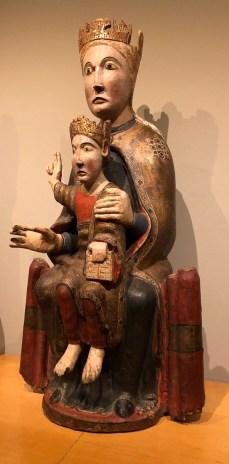 12th century Madonna & Child sculpture, in polychrome wood