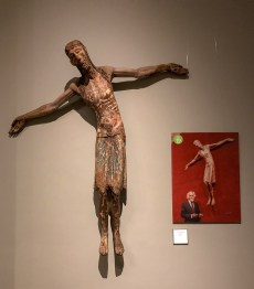 """""""Christ Descending"""", end of the 12th century, next to a photo of Frederic Marès himself."""