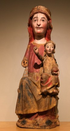 12th century Madonna & Child sculpture, in polychrome wood