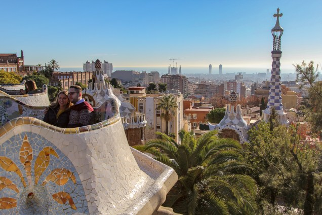 The view terrace, called Nature Square sits above the Hypostyle, and is surrounded by a long, curved, colourful tiled bench. On the original plans it was called the Greek Theatre as it was intended for staging large open air shows. Note the Sagrada Familia spires in the background.