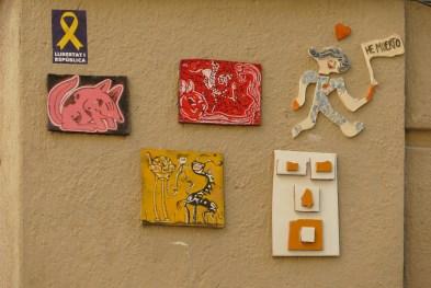 Ceramic tiles on a street corner