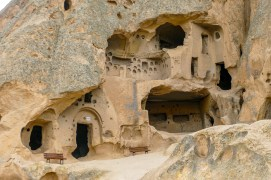 A whole community carved into caves high on the hills