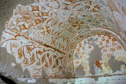 9th -10th century frescoes - unusual for its geometric patterns and bright red & yellow paint