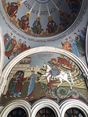 Kvashveti Church - new frescoes, St George, of course