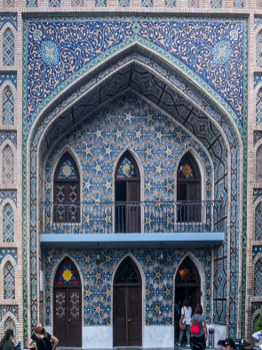 Abanotubani Sulfur Baths - the blue tiled facade of the Orbeliani Baths looks like a mosque.