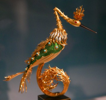Bird, 1964, green and white enamel, black and cream lacquer, rubies, turquoise, 18 carat gold