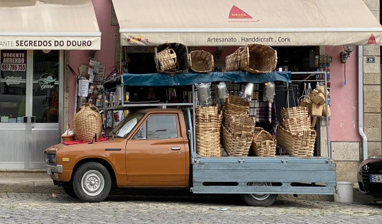 Truck loaded with baskets used to transport the grapes from the vineyards