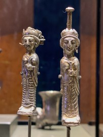 Two silver cosmetic flasks in the form of crowned ladies. Iran, Achaemenid period, 5th to 4th century BCE